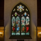 Original stained glass relocated from Frank Furness' original church