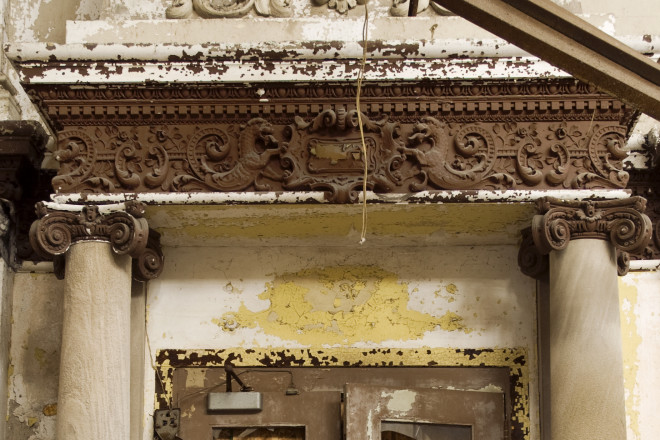 Plaster decoration inside the Industrial Trust, Title & Savings Bank | Photo: Peter Woodall