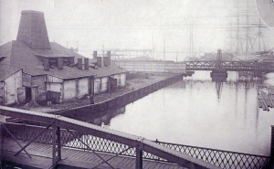 Former Dyott glass works as seen from Richmond St bridge over Aramingo Canal, circa 1875
