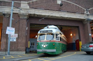 Rt 15 trolley at Callowhill Depot, 59th & Callowhill Sts.