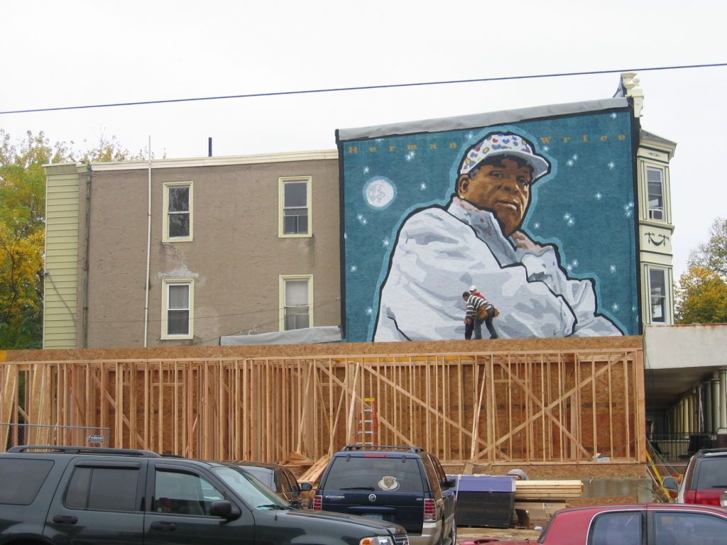 Herman Wrice mural being covered up | Photo: Seth Turner