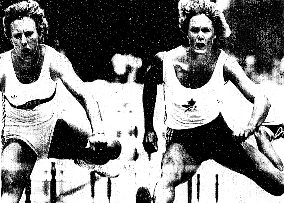 "Canadian ""Diane Jones Konihowski, right, pentathlon winner, in 100-meter hurdles with Cornelia Smith"" 