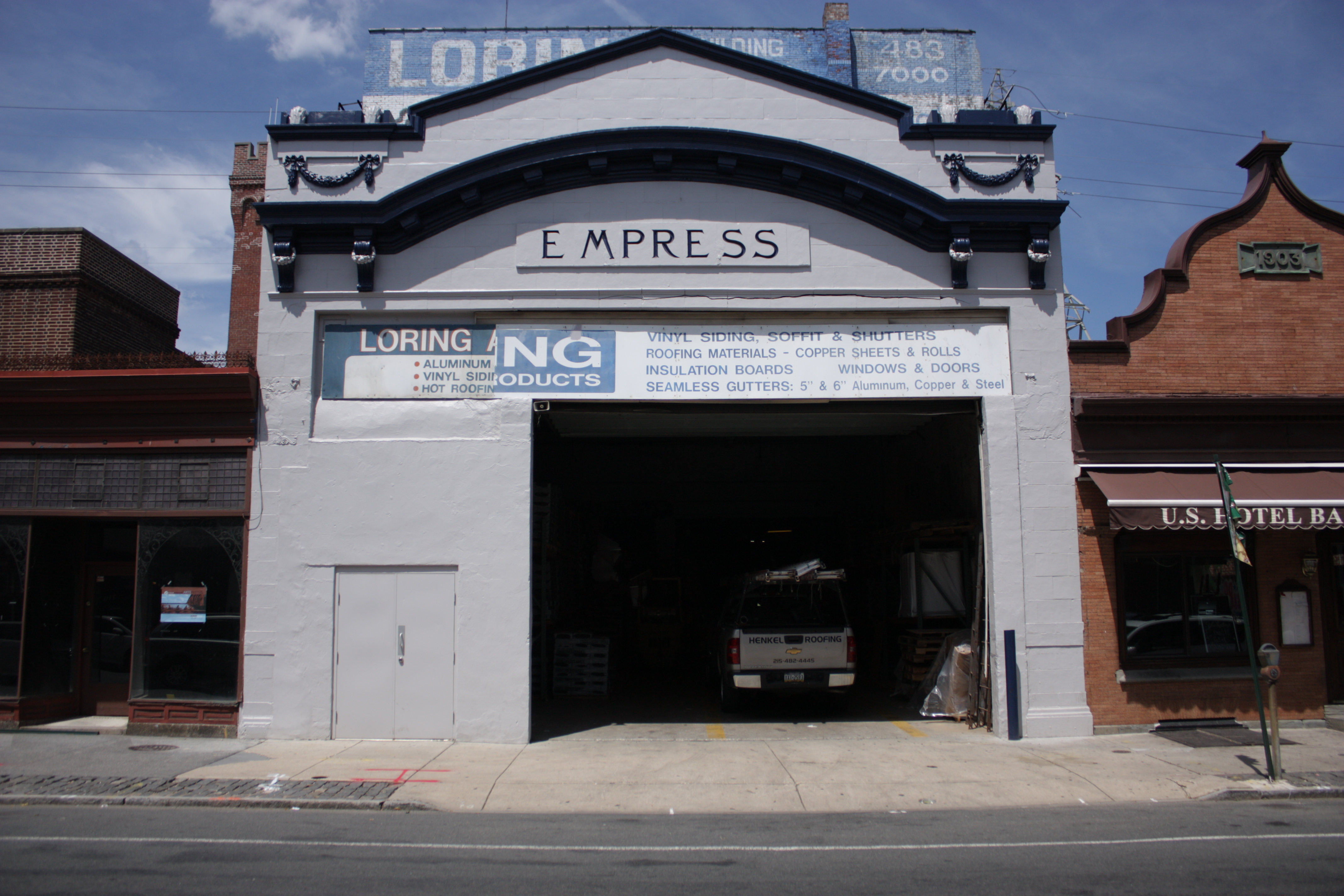 The exterior of the Loring Building Products warehouse, the former Empress Theater, on Main Street in Manayunk. | Photo: Philip Jablon