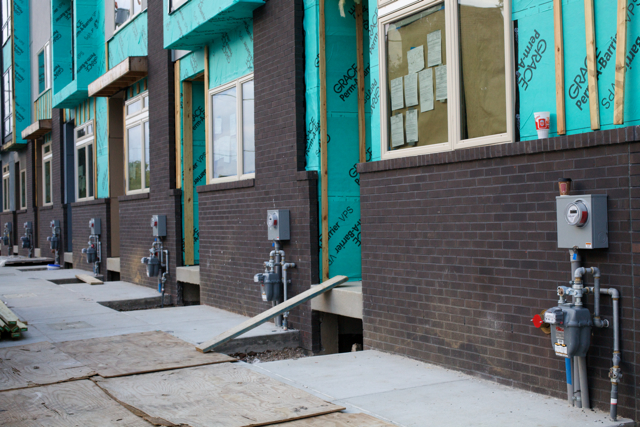 New gas meters installed on the front of buildings have provoked ire among preservationists and neighborhood activists. | Photo: Hidden City Philadelphia