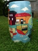 A rain barrel beautified by Shawn Dubin. | Photo: courtesy of Mt. Airy BID