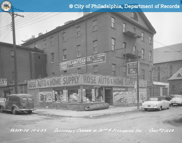 As Rose Auto in 1953. Check out the Clarke Can Co. ghostsign | Image: PhillyHistory.org, a project of the Department of Records.