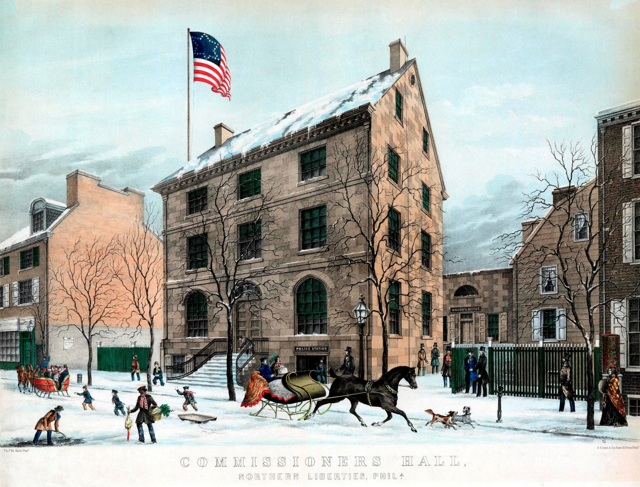 The Commissioners' Hall of Northern Liberties in its prime, showing a winter scene in 1852. This building was on Third Street below Green. Note: the mayor's office was in the rear. Lithograph by Charles Conrad Kuchel. Library Company of Philadelphia.
