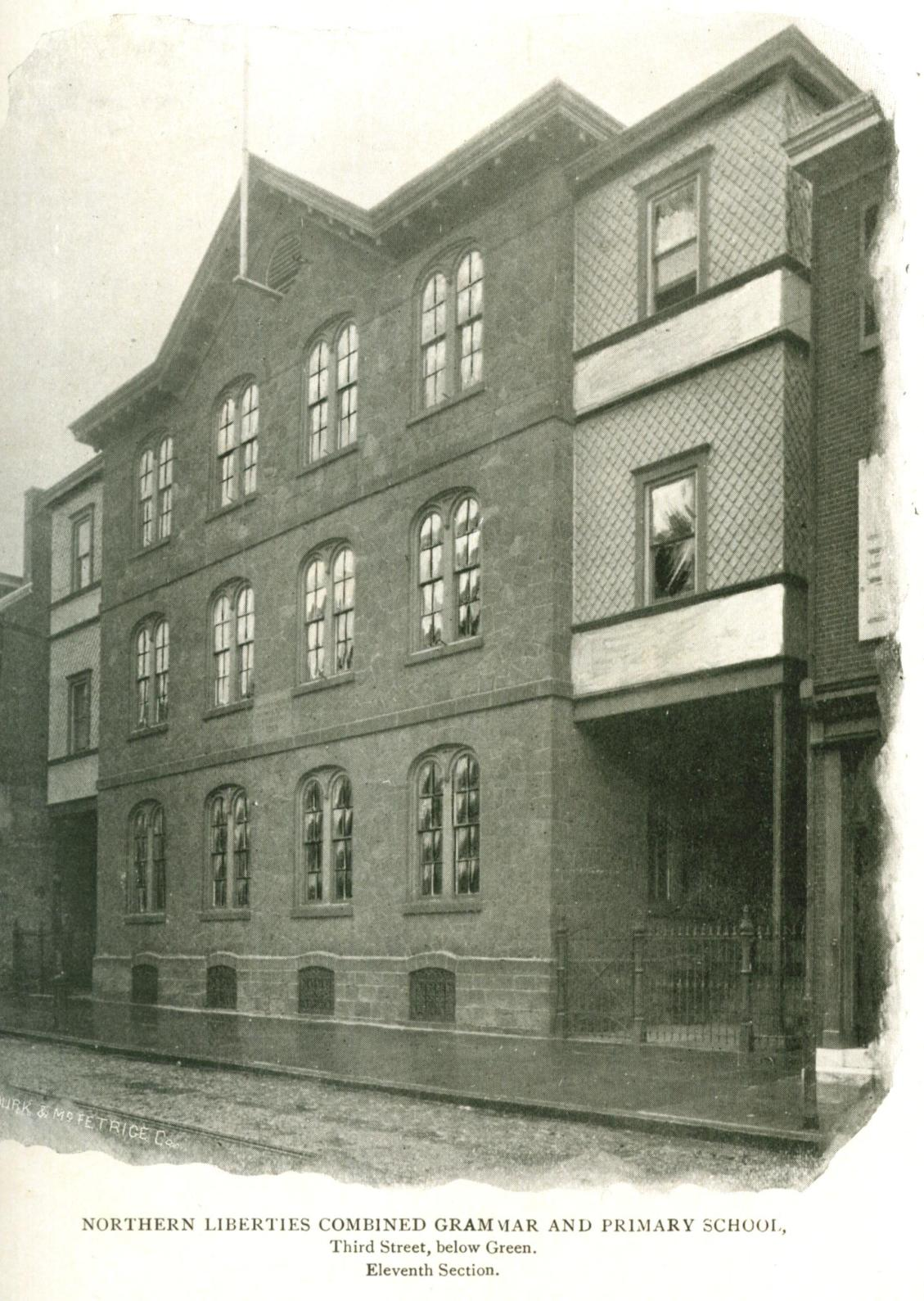 The Northern Liberties Grammar School, around 1896. Built on the former site of Commissioners' Hall, it was removed for the construction of Spring Garden Street in the 1920s. From The Public Schools of Philadelphia (1897).