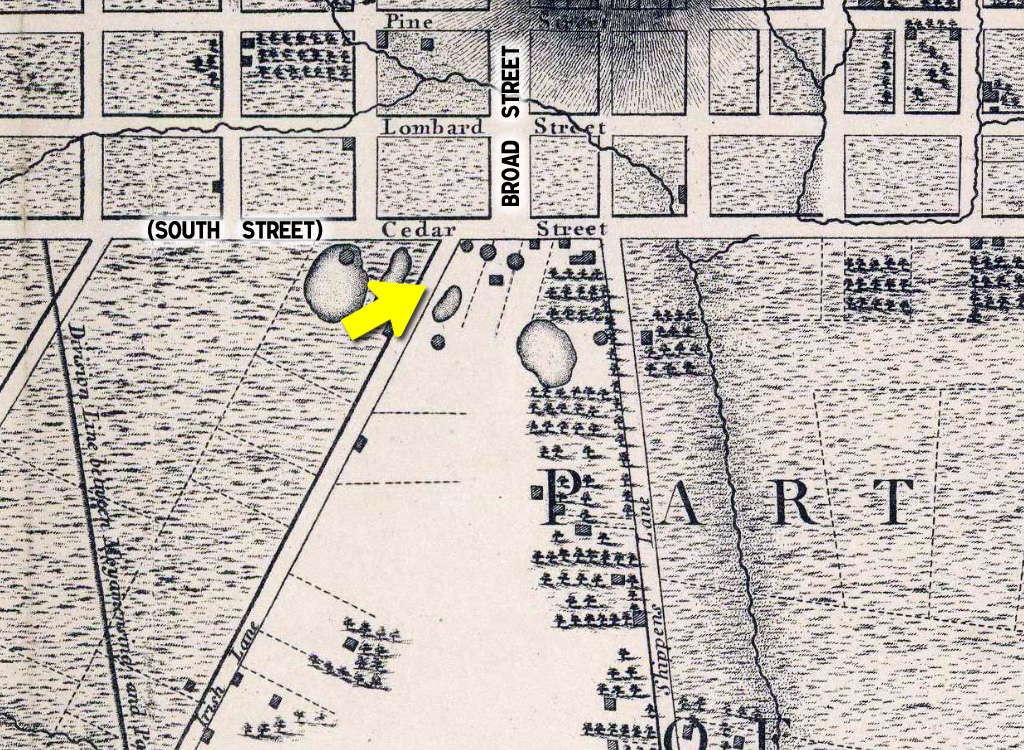 Irish Lane near Broad and South | 1796 map image: Mike Szilagyi
