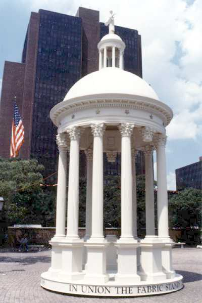 "Reproduction of the Federal Edifice or ""New Roof."" The Carpenters' Company of Philadelphia recreated it for the U.S. Constitution's bicentennial parade in Philadelphia (1987)."