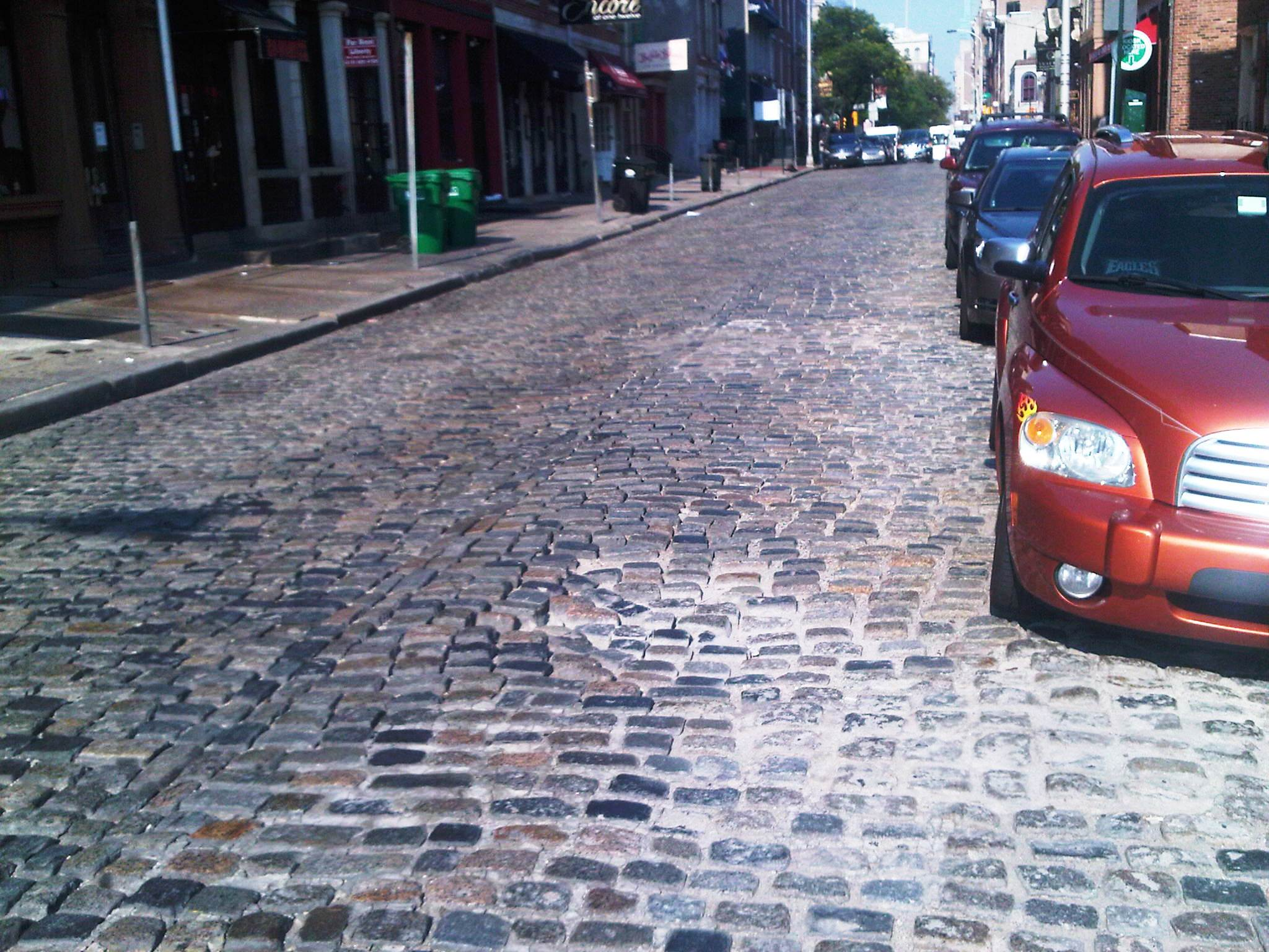 The Belgian block surface of the 100 block of Chestnut Street.