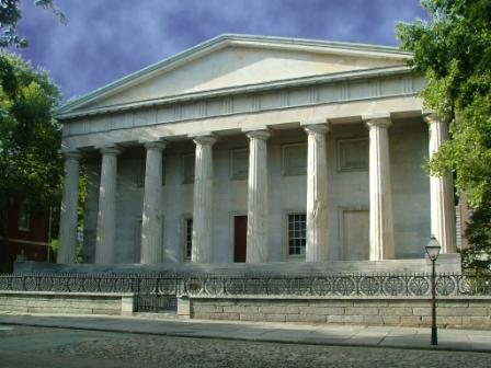 The south facade of the Second Bank of the United States, designed by William Strickland and built in 1819.