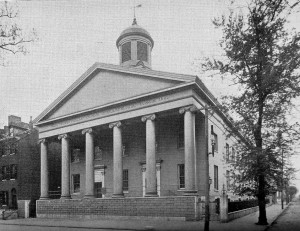 The First Presbyterian Church in Washington Square, demolished in 1939. From William P. White & William H. Scott, The Presbyterian Church in Philadelphia: A Camera and Pen Sketch of Each Presbyterian Church and Institution in the City (1895).