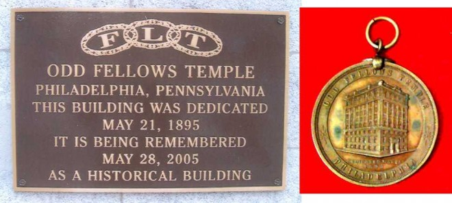 A plaque that was attached to Odd Fellows Temple, and a medal commemorating the dedication of the building.