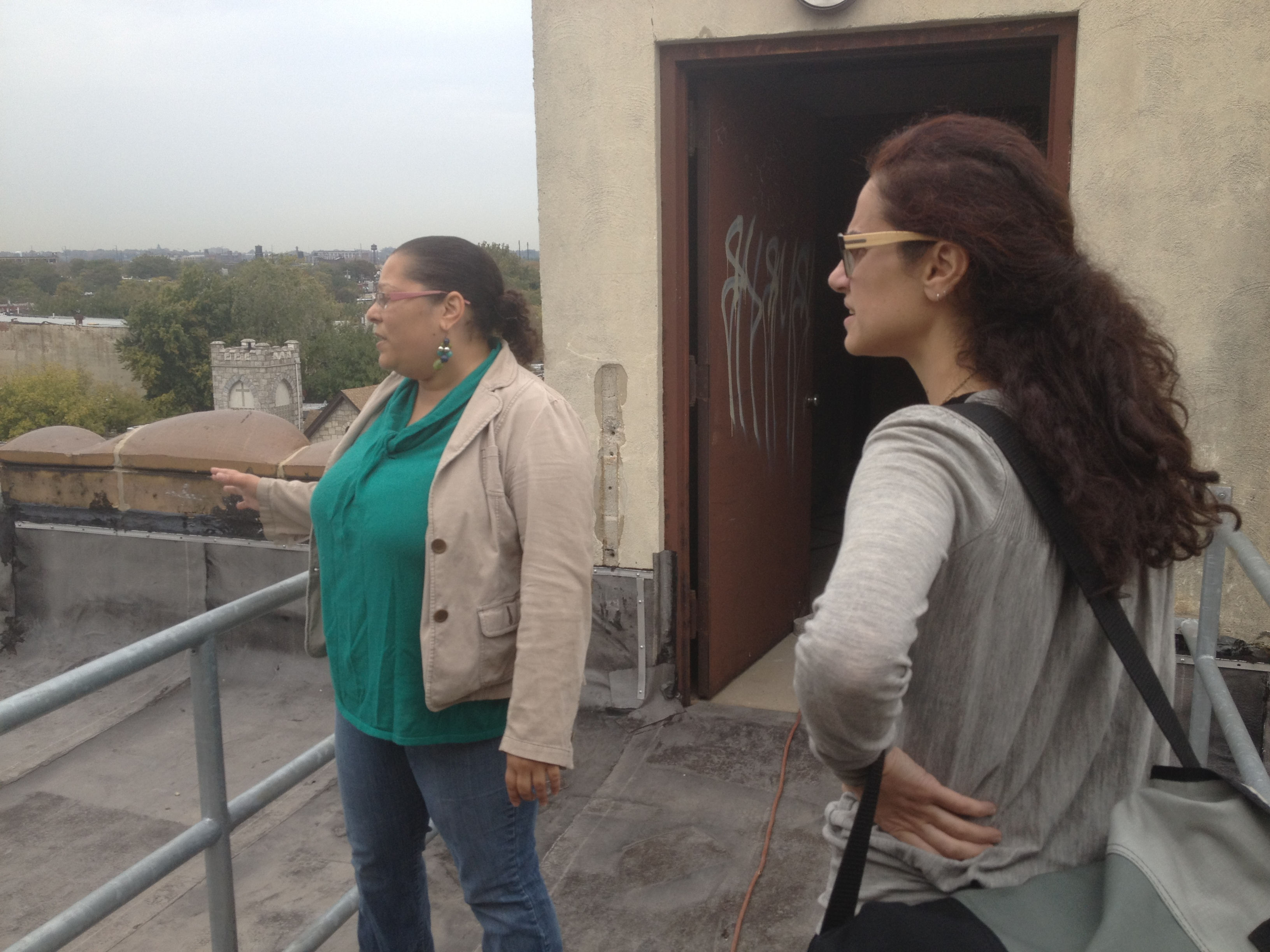Nini Palavandishvili with Aissia Richardson on the roof of the Uptown Theater