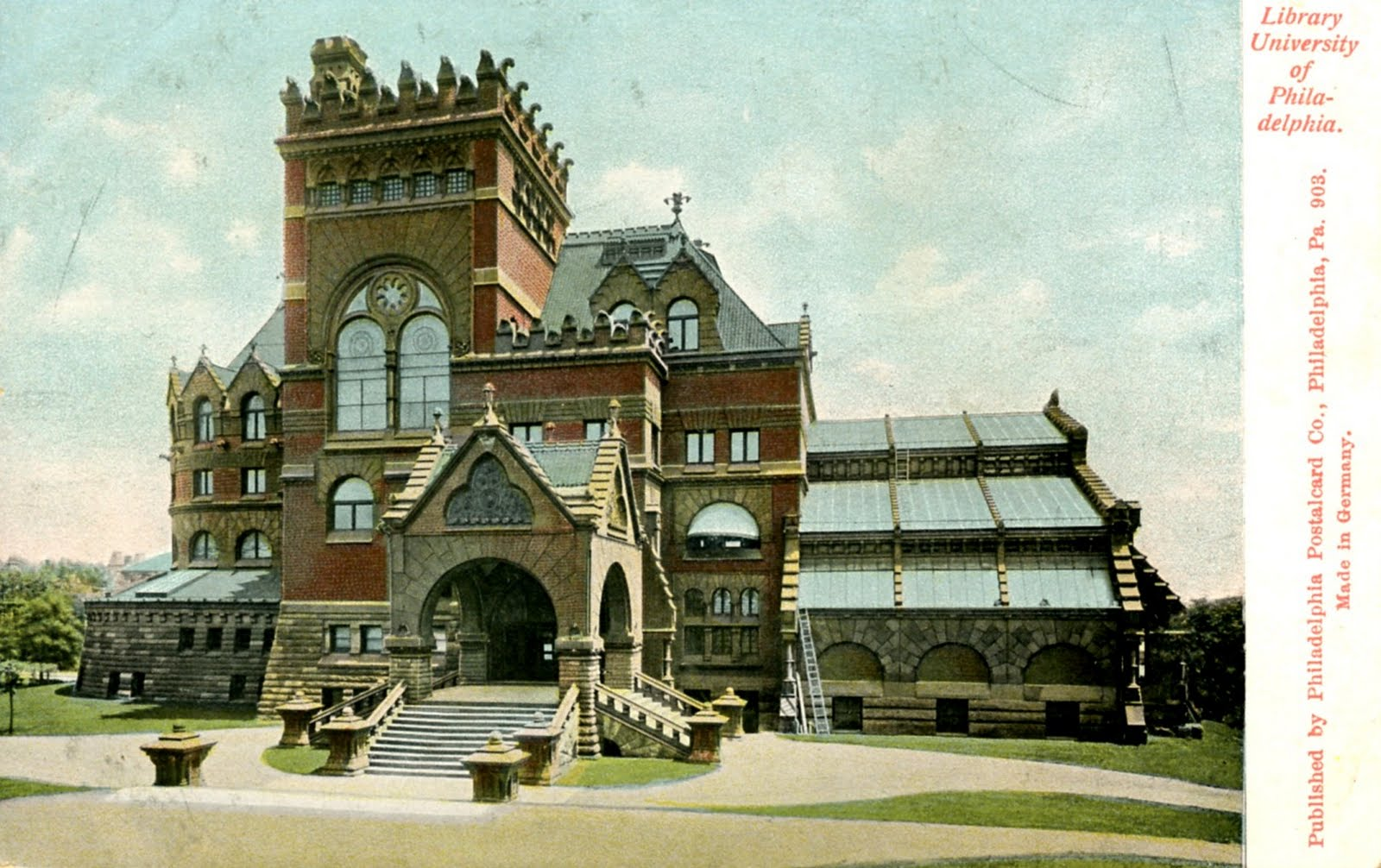 Postcard of the University of Pennsylvania Library designed by Frank Furness