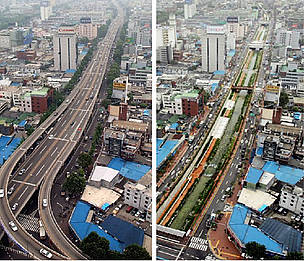 Seoul before and after the removal of a central highway and the restoration of the Cheonggyecheon River | Image: Seoul Metropolitan Government