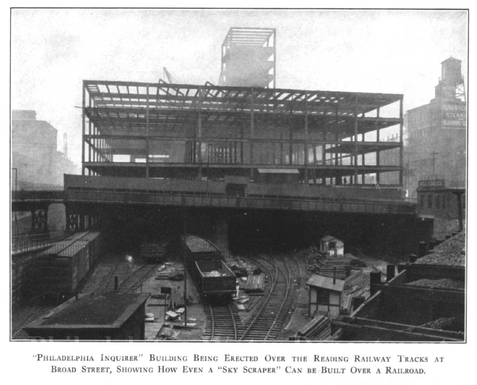 Inquirer Building being erected over City Branch, 1924