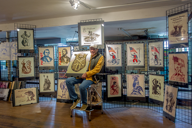 Todd Kimmel with his Civil War exhibition prints | Photo: Theresa Stigale