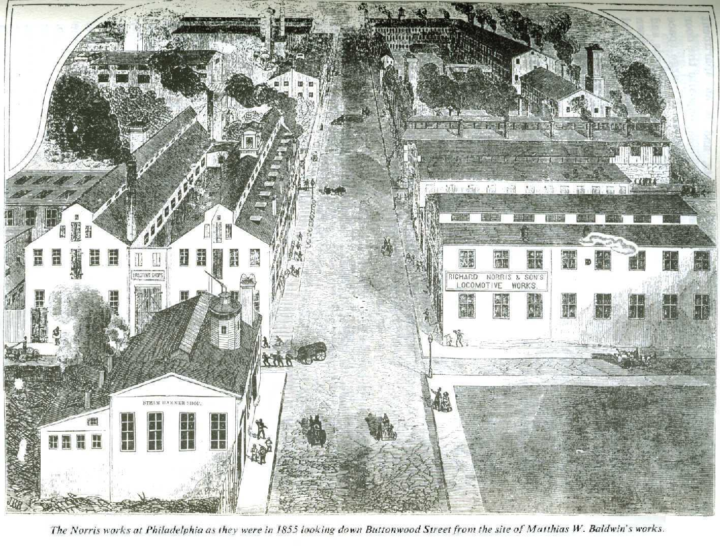 The Norris factory complex in 1855, looking west on Buttonwood Street.