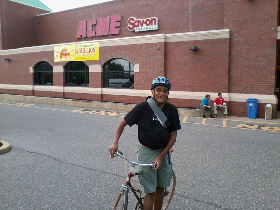 The author, on a supermarket run in his Oxford Circle neighborhood this past summer. The store&#039;s easy to bike to, but where does one put the bike once there?