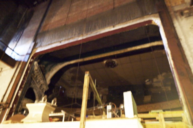 Behind the proscenium arch in the storage area of the Fine Fare supermarket | Photo: Peter Woodall