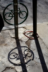 A parking meter converted into bike parking in Center City | Photo: Peter Woodall