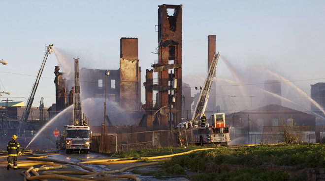 Aftermath of the Buck Hosiery mill fire | Photo: Peter Woodall