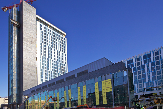 27 story, 1,275 bed student residence under construction   Photo: Peter Woodall