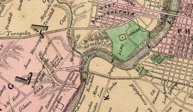 Map of 10 Miles Round Philadelphia (Sidney, 1847)