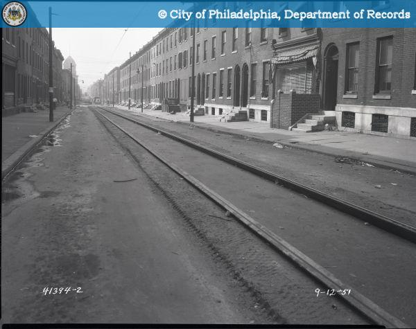 Looking south down 12 St. from Jefferson. Coltrane's apartment was on the right of the street, probably in the foreground | Photo: Phillyhistory.org