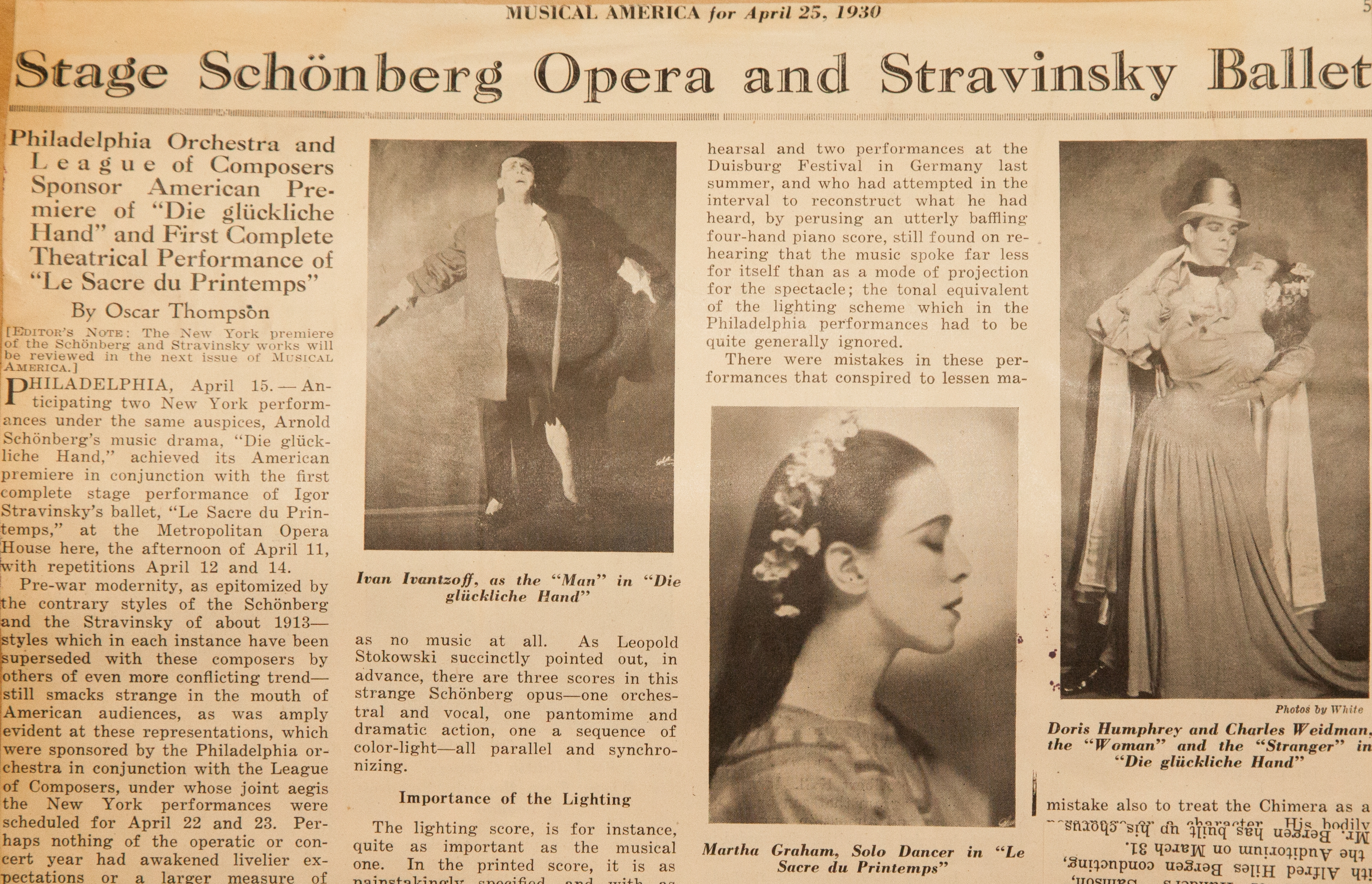 Coverage of US premieres of The Rite of Spring and Die glückliche Hand in Musical America, April 1930  Philadelphia Orchestra Archives