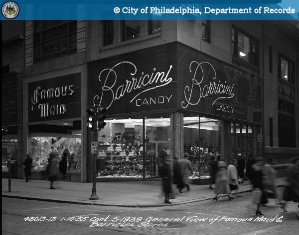 As Barricini Candy in 1939. Note the diagonal display window. | Source: PhillyHistory.org