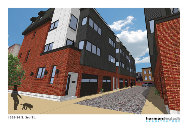 Rendering of townhouses planned for 1332-34 South 3rd Street | Image courtesy of Harman Deutsch Architecture