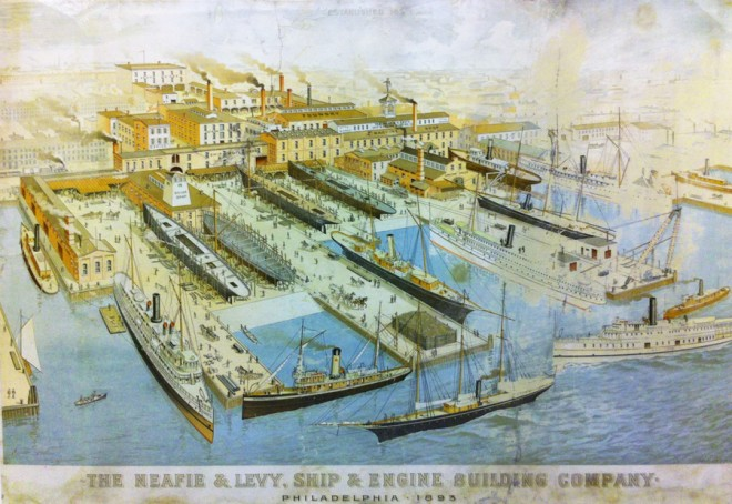 Lithograph of Neafie & Levy shipyard, 1893 | Courtesy of Independence Seaport Museum
