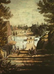 "1816: A painting, ""Lower Bridge on Schuylkill at Gray's Ferry"" (Joshua Rowley Watson), looks east past Gray's Tavern to the pontoon bridge first erected in 1777."