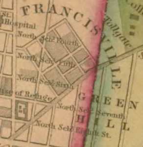 Green Hill as seen in Charles Ellet's 1843 map. West is up. 