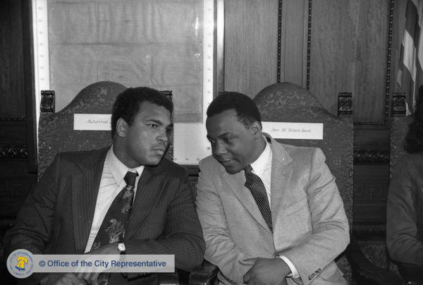 The Charter & the champ: Muhammad Ali with Managing Director (and next Mayor) Wilson Goode, 1980 | Image: Office of the City Commissioner