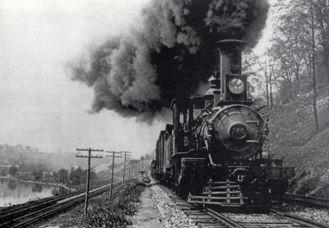 A Pennsylvania Railroad train passes through what is now (with slightly cleaner air) the Schuylkill River Trail between Spring Mill and Shawmont