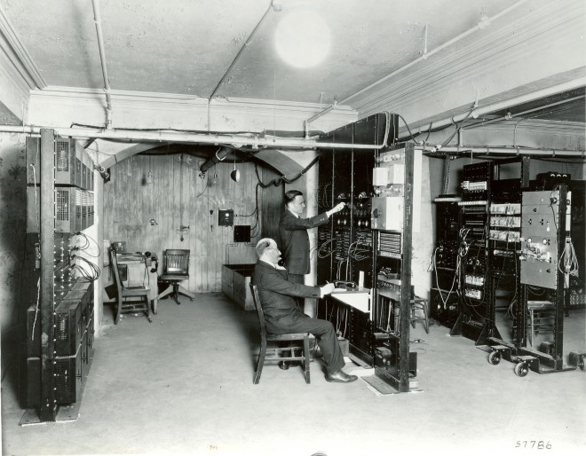 Bell Labs engineers in basement of Academy of Music, 1933. Courtesy of AT&T Archives & History Center
