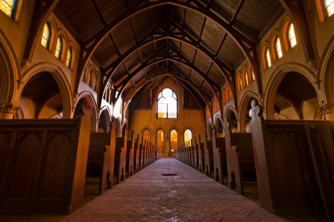 Dust to dust: central aisle of the Church of the Atonement sanctuary | Photo: Bradley Maule