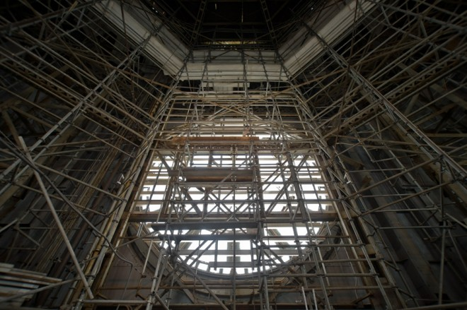 Scaffolding inside City Hall tower keeps access to the clocks available | Photo: Bradley Maule