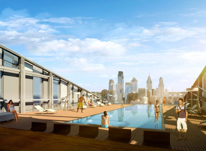 The Grove at Cira Centre South, rooftop pool view | Image courtesy of Erdy McHenry Architecture