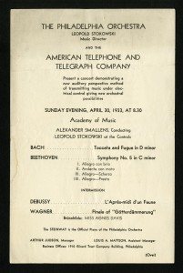 April 30, 1933 Philadelphia Orchestra Concert Program. Courtesy of Philadelphia Orchestra Association Archives