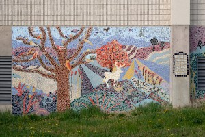 A mosaic depicts wildlife at nearby Heinz National Wildlife Refuge | Photo: Bradley Maule
