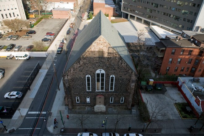 Overview of 40th Street Methodist Episcopal in its University City surroundings | Photo: Bradley Maule