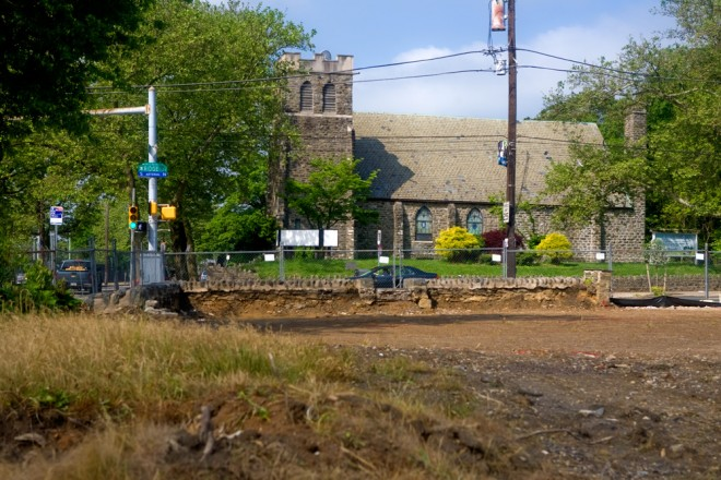 Grace Evangelical Lutheran Church, foregrounded by the lot of the demolished  Bunting House   Photo: Bradley Maule