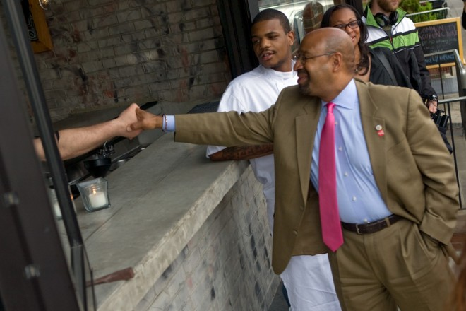 Mayor Nutter presses the flesh at Stateside in South Philly; executive chef Elijah Milligan approves | Photo: Bradley Maule