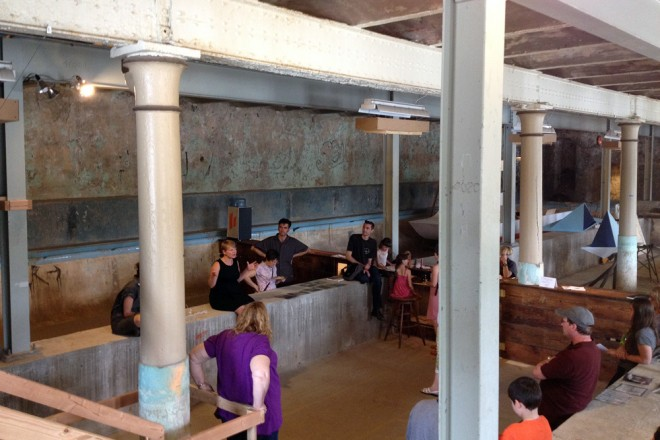 Just another lecture inside an abandoned swimming pool. Samantha Muka discusses aquariums; this weekend, Drew Brown talks on Philly's water history | Photo: Bradley Maule