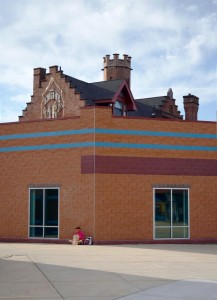 The building's roofline is more pronounced when viewed against the more recent addition   Photo: Jacob Hellman
